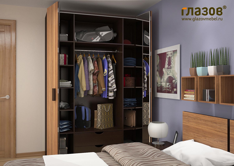 Шкаф-гармошка для одежды и белья 555 (венге) купить шкафы-га.